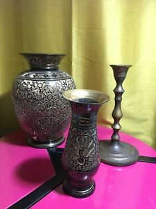 Two Brass Vases Black Details Handmade with Metal Candle Holder Stand