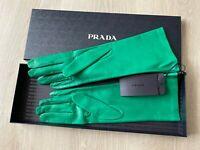 Prada Women's 100% Lambskin Leather 1GG053 Mango in Green Gloves Size - 8 (BNWT)