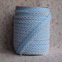 2m 12mm Pale Baby Blue Polka Dot Bias Binding with White Picot Lace Edge, Trim
