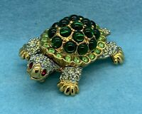 Swarovski Crystal Turtle Brooch Pin Gold Tone - BEAUTIFUL