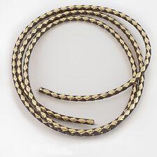 """Bolo Tie Cord - Braided Bolo Cord - Brown & Metallic Gold - 36"""" x 4mm"""