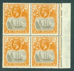 SG 111 St Helena 1922-37. 7/6 grey brown & yellow orange. Lightly mounted mint..