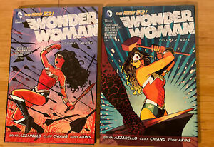 Wonder Woman Vols 1 2 by Brian Azarello Lot (DC, Hardcover) (Blood, Guts) New 52