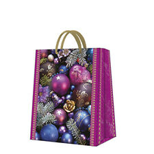 Christmas Printed Paper Gift Present Bag VIOLET COMPOSITION Large Baubles Pink