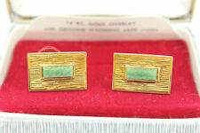 Vintage Modernist KREMENTZ 14kt Gold Over Sterling WYOMING JADE Cufflinks w. Box