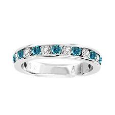 14K Ladies Blue/White Diamond Channel Fashion Wedding Band Ring 1/4 Ct
