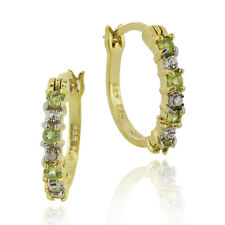 18k Gold over Silver Diamond Accent & Peridot Earrings