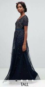 BNWT Maya Tall Size 16 V Neck Navy Maxi Tulle Dress Contrast Tonal Sequins