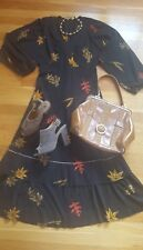 Get the Look! Gorgeous Vintage Fall Midi Dress and Necklace, Purse Shoes Size 8