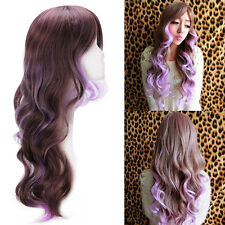 Women Long Curly Wavy Full Wig Brown Mix Light Purple Hair Cosplay Costume Hot