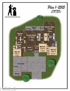 4 Bedroom/ 3 Bath House Plan 2,505 SF Blueprint Plans