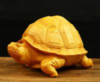 6.8*5*3cm Chinese Box-wood Hand Carving Animal Tortoise Longevity Turtle Statue
