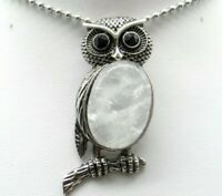Natural crystal Gem beads animal Owl Retro Silver Pendant necklace Jewelry P1