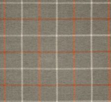 """Pennington II Plaid Chenille Taupe/Orange Fabric by the yard upholstery 54"""" Wide"""