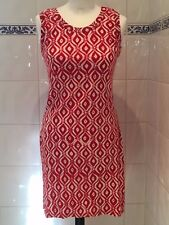 ISLAND GIRL LADIES RED WHITE PATTERNED SUMMER DRESS SIZE S/M