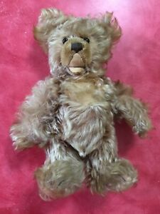 """Vintage Mohair, Jointed Open Mouth 11"""" Straw Stuff Glass Eyes Steiff Teddy Bear"""