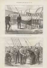 1873 TROOP SHIP LIFE ON BOARD SERVING OUT THE GROG HANDS AND FEET INSPECTION