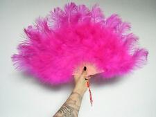 Eventail éventail fan burlesque luxe plumes d'autruche rose fuchsia 25 branches