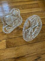 Two Vintage American Brilliant Cut Glass Celery Serving Dishes, deep cut, heavy