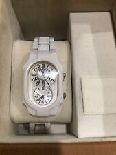 Philip Stein Signature White Ceramic Men's Watch For Repair Or Parts Dual Time