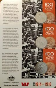 ⭐ 3 COINS x 2015 20c Coin 100 Years of ANZAC WWI: 1914-1918 ⭐