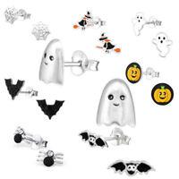 Kids Halloween Earrings Children's Womens 925 Sterling Silver Bat Witch Pumpkin