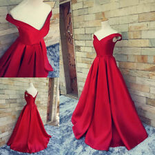 Red Satin Off Shoulder Prom Party Ball Evening Celebrate Graduation Pageant Gown