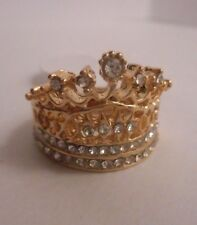 CROWN gold tone ring  with clear crystals 2 ring set..Engagement and band