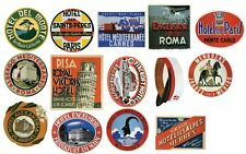 Vintage Hotel Luggage Label Stickers - Pack of 14 Suitcase Travel Decals