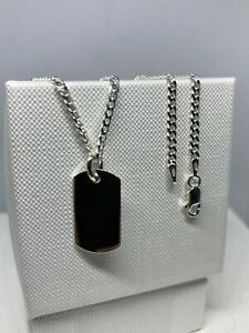 Genuine Solid 925 Sterling Silver Mens 22mmx12mm Dog-Tag Pendant Necklace 20 Inc