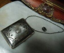 Antique Sterling Silver Super Heavy Rare Coin Holder & Makeup Compact by WHS