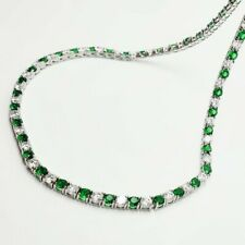 White gold finish green emerald and created diamond tennis necklace gift boxed