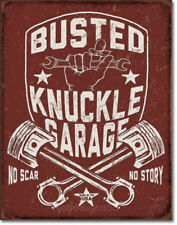 Busted Knuckle Tin Metal Ad Sign Retro Garage Auto Truck Repair Shop Wall Decor