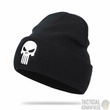 The Punisher Skull Knitted Winter Beanie Hat Black Airsoft Army MilitaryUK
