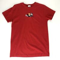 Warner Bros Studio Store Mens Small Red T-Shirt Sylvester Tweety Vtg Embroidered