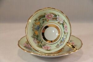 Vintage ROYAL STAFFORD Green GARLAND TEA CUP & Saucer England RAISED GOLD