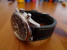 20mm black leather watch strap - Handmade in the UK