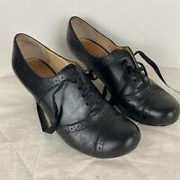 Zoe Wittner Jen Black Lace Up Round Toe Heel Size 6 ~S1