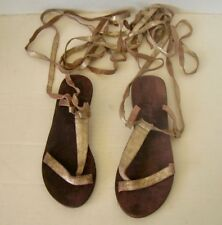 FREE PEOPLE Gold Leather Gladiator Sandals Size 38 NEW