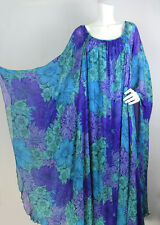 Vtg 60s 70s La Mendola Sz 44 Silk Floral Overlay Kaftan Cape Dress RARE