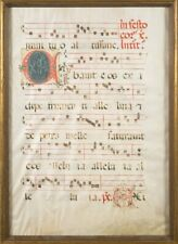 LARGE 15TH CENTURY ILLUMINATED MANUSCRIPT ANTIPHONAL LEAF, Framed & Glazed