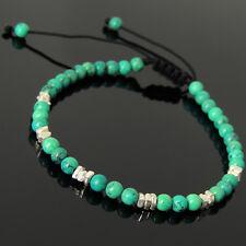 Men Women Braided Bracelet 4mm Enhanced Turquoise 925 Sterling Silver Nugget 955