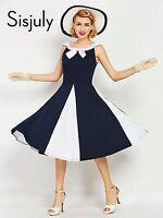 Women Vintage Dress 1950s Nautical Style Patchwork Navy Bowknot Sailor Collar
