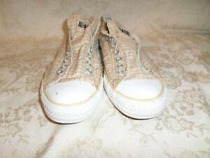 Converse All Stars Beige Brown Plaid Laceless Sneaker 9 Mens 11 Womens GUC