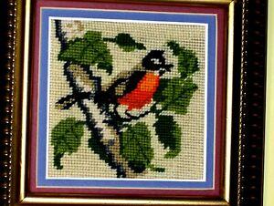 OLD Bird Red Orange Cardinal on Limb Tree Leaves Crewel NEEDLEPOINT WOOL VINTAGE