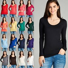 Women's Plain Scoop Round Neck Long Sleeve Cotton T-Shirt Soft Stretchy Tee 8008