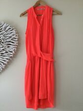 Country Road GORGEOUS Sleeveless Twist Drape Dress Size 10 In Neon Orange