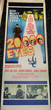 20,000 EYES! '61 GENE NELSON ACTION/CRIME CLASSIC ORIGINAL INSERT FILM POSTER!