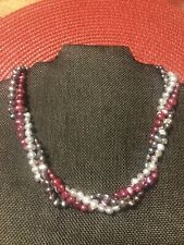 Silver 925 Necklace Gorgeous 18� Vintage 3 Strand Pearl Sterling