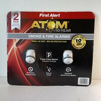 2 Pack First Alert Atom Smoke & Fire Alarms Model P1010 - New